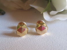 18 kt yellow gold earrings with screw clasp - geometric shape - 1.33 g