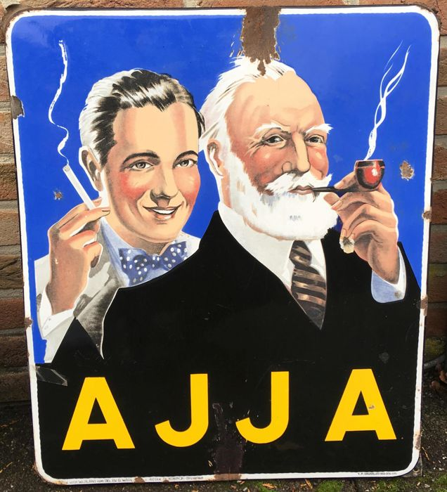 Enamel advertising sign AJJA - father and son
