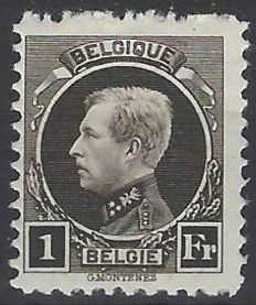 Belgium 1922 - Albert I Small type Montenez - 1 Fr Black-brown with perforation 11 - OBP no. 214A