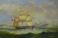 A Darby (19th century) - A sailing vessel in the channel