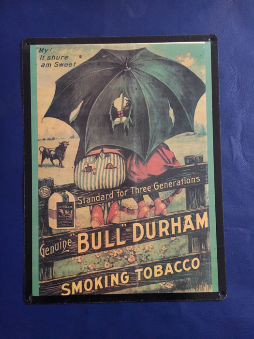 Original US vintage advertise metal sign Bull Durham Smoking Tobacco