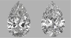 Pair - Pear Brilliant Diamonds 1.03 ct total FIF  GIA - Low Reserve Price - # J404-J807