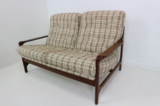 Unknown producer- organically shaped sofa with teak frame