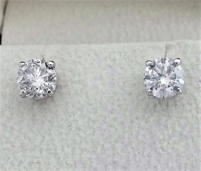 1.51 ct D color , SI1 clarity , Round Diamond Stud Earrings 14 k White Gold