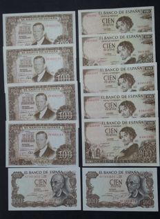 Spain - Lot of 11 banknotes of 100 pesetas - 1953 (4), 1965 (5), 1970 (2) - Pick 147, Pick 150 and Pick 152