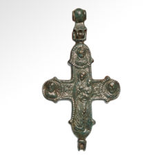 Byzantine Large Reliquary Cross Pendant, 11.3 cm L including loop