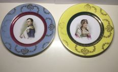 A set of two porcelain plates of Napoleon and Josephine -possibly French or German, late 19th century