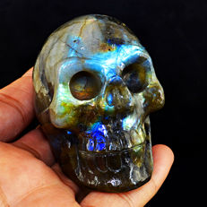 Huge Blue-gold flash Labradorite skull - 63x53x43 mm - 200 gm