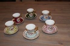 6 vintage Porcelain de France coffee cups & saucers