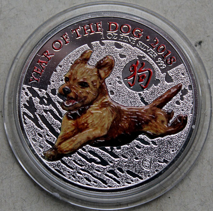 Great Britain - 2 Pounds 2018 'Year of the dog'- 1 oz silver
