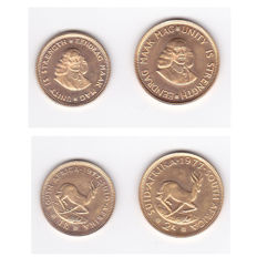 South Africa - 1 & 2 Rand 1977 (2 coins) - Gold