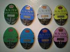 8 old K.N.M.V. Car/Motorbike plaque in enamel  from 1956 to 1976