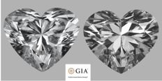 Pair - Heart Brilliant Diamonds 1.02 ct total DIF GIA - Low Reserve Price - #711-735