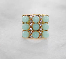 Beautiful J.R Wood faux jade signed vintage ring New York 1955-1960