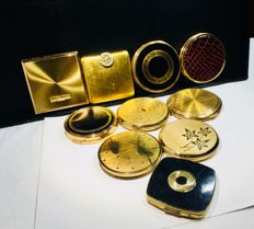Ten vintage designer compact mirrors,most with original inlays