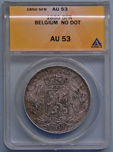 Belgium - 5 Francs 1850 without dot Leopold I - silver