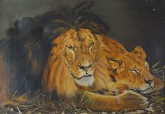 H.C.B.Goss (19th century) - Lions in repose