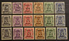 Belgium - Selection typografical pre-cancelled stamps and 2 stamps with reversed overprint