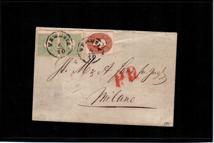 Lombardy Venetia, 1861 – 3 soldi yellow green pair, and 10 solid brick brown on letter from Venice to Milan; 10 soldi brick brown on letter from Adria to Ravenna – Sass. No.  34 and 35.