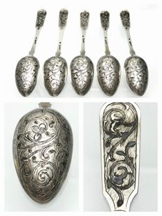 Andrey Antonovich Kovalsky - 1856 - Russian niello silver soup spoons - set of 5