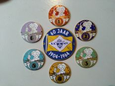 7 old K.N.M.V. Motorbike plaques in enamel  from 1970