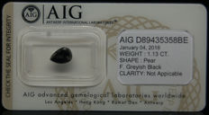 1.13ct. Certified Natural Fancy Greyish Black Diamond  - NO RESERVE