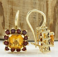 14k Yellow Gold  Earrings Set with 5.25 ct Citrine, 1.00 ct Garnet - *no reserve*