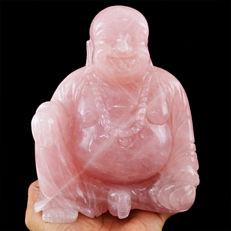 Top Pink Rose Quartz Laughing Buddha - 155X118X75 mm - 9395.00 cts