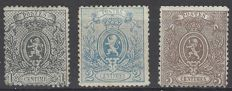 "Belgium - ""little lion"" version from 1867, perforate, 1c grey, 2c blue, and 5c brown, perforation 14½ x 14 - OBP numbers 23 to 25"