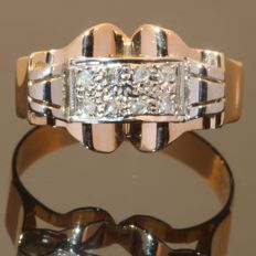 Vintage unisex retro ring with rose cut diamonds from the fities