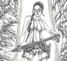 Ratera, Mike - Original Drawing - Lara Croft