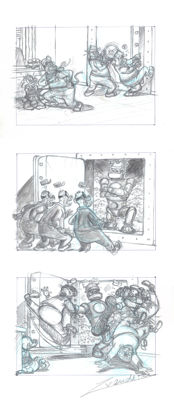 Vendetta, Z. - Original Pencil Triptych - Uncle Scrooge Secret Defense