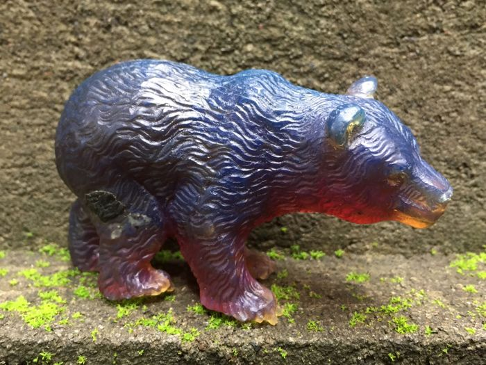 Carved deep blue Amber Bear figurine, one piece carving, 56.9 grams weigh