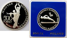 Hungary - 500 Forint 1980 + Poland 200 Zlotych 1980 'Olympiad Lake Placid' - silver