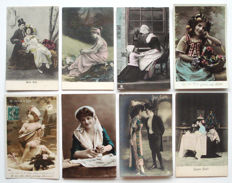 Fantasy 230 x - Romance - couples, children, women, men - many cards hand coloured.