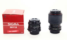 A Sigma 2.8-28mm in box and Tokina 70-210mm Canon FD