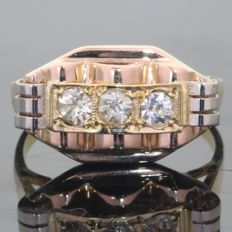 Vintage Three Colours Gold Retro Ring with White Strass Stones - Free Resizing - circa 1945