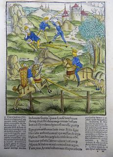 Gruninger Master; Virgil - Brandt Edition - Aeneid: Aeneas. Swordplay, Medieval Joust - Hand coloured woodcut on folio leaf - 1502