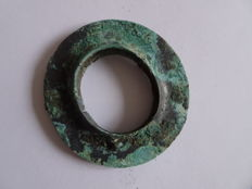 A  Chinese travelling bronze ritual disc - Pi disc formant the universe  - 74 mm