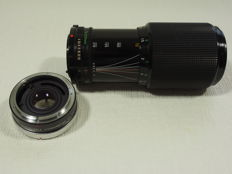 Canon zoom lens FD 70 to 210 mm 1:4 with Panagor teleconverter 2X