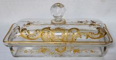 Baccarat crystal brush case, Louis XV model enhanced with fine gold