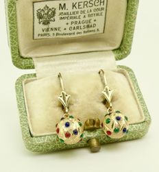 """Dainty """"gemstone eggs"""" earrings 14kt gold set with Sapphire, Diopside & red Garnets - No Reserve, ca. 1900's"""