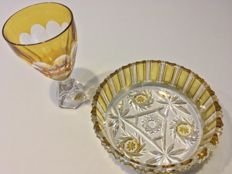 Amber-coloured crystal bowl and vase