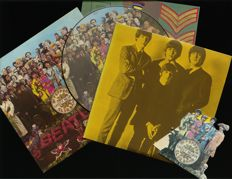 """Lot of three Beatles albums including """"Sgt. Pepper's Lonely Hearts Club Band"""" as Dutch Stereo and picture disc release + """"Sweet Apple trax"""" (2LP)"""