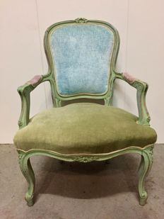 Louis XV style armchair restyled in pastel shades, France, mid 20th century and later