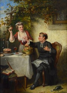 Henricus Englebert Reyntjens (1817 - 1900) - Would you like an apple, sir?