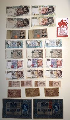 Italy - Kingdom and Republic - collection of 25 banknotes and 2 Austrian banknotes