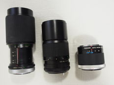Lot for Canon with Vivitar 1:3.8 75-205 mm - Tokina 1:3.8 200 mm and Panagor macro converter