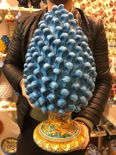 Fine Caltagirone Ceramic Pine Cone, H 40 cm, Blue colour, Handcrafted