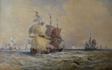 Thomas Bush Hardy (1842-1897) - Dutch Galleons at sea